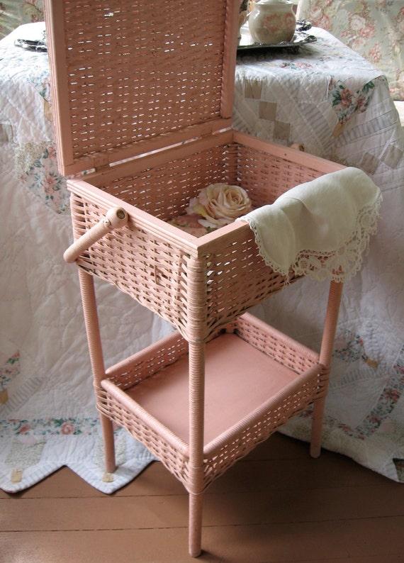 Antique Sewing basket Heywood Wakefield wicker Shabby Chic