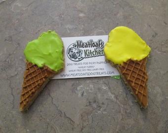 6 Ice Cream Cone Dog Treats Wheat Free, Peanut Butter you Choose