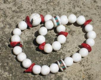 27 bead hand mala with naga shell & coral