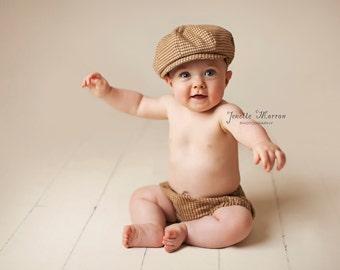Cake smash outfit, boys cake smash, boy prop, Boy Diaper Cover, Newsboy Hat, photo prop, newsboy set, boy photo outfit