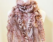 Womens patterned MULTICOLOR IV scarf with leopard print pattern and wattle leaf edge