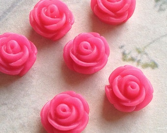 11 mm Hot Pink Colour Rose Resin Flower Cabochons (.tc)