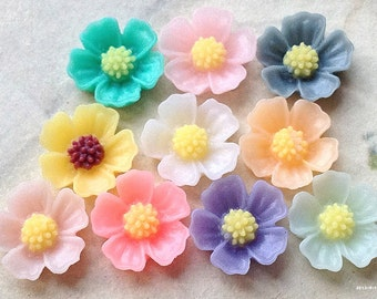11 mm Little Resin Flower Cabochons of Assorted Colour (.s)
