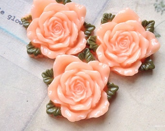 40 mm Light Peach Resin Rose Cabochon  (t.t)