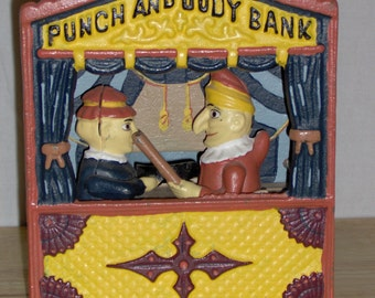 Antique Cast Iron Punch and Judy Bank