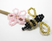 Beaded Garden Stake - Outdoor Decor - Plant Stake - Garden Ornament - Indoor Decor - Beaded Bumble Bee - Plant Decoration