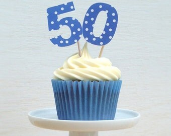 Blue Spotty Number Cake Decorations