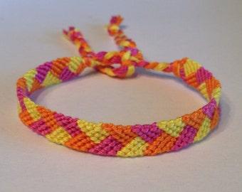 Pink, Orange & Yellow Braid Friendship Bracelet