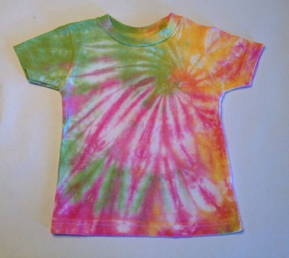 Pink, Yellow & Lime Green Swirl Tie Dye T-Shirt (18 month old)