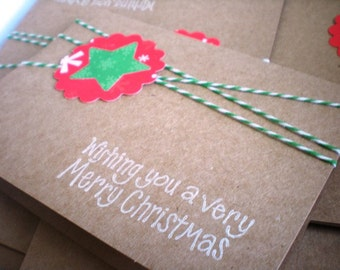 Merry Christmas Kraft Card Set of 8 with Envelopes
