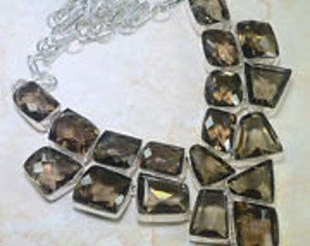 Smoky Quartz and Sterling Silver Bib Necklace