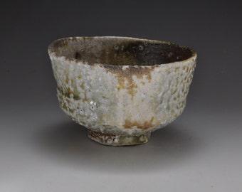 Shigaraki, anagama, 10day anagama fired tea bowl with natural ash deposits. chawan-01
