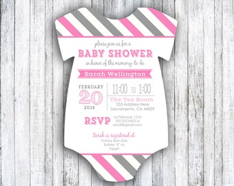 Baby Shower Invitations - Colorful Stripes - set of 20 - Die Cut - Baby Shower - Baby Girl