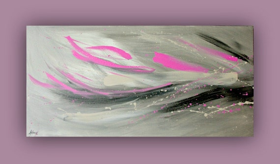 Abstract Painting Pink And Black Modern Art Decor By