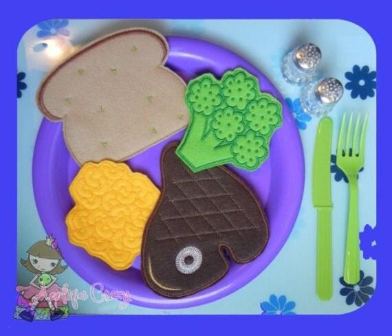 Steak dinner play food set (in the hoop) embroidery file design