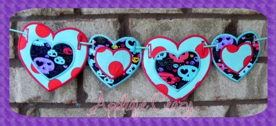 Heart shaped banner (in the hoop) embroidery file design