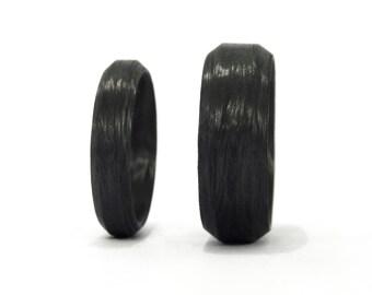 set of two carbon fiber beveled wedding bands industrial black wedding rings water resistant - Carbon Fiber Wedding Rings