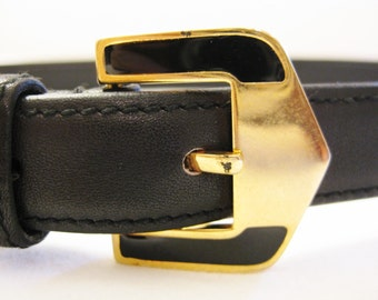 VALENTINO GARAVANI-- Vintage Navy Leather Belt with Gold/Enamel Buckle Italy 70