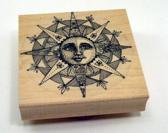 Collage Sun Rubber Stamp