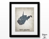 West Virginia State Print - Home Town Love - Choose your City & Color - Original Custom Map Art Available in Multiple Size and Color Options