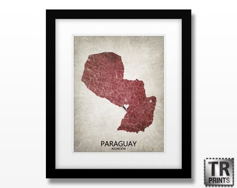 Paraguay Map Print - Home Is Where The Heart Is Love Map - Original Custom Map Art Print Available in Multiple Size and Color Options
