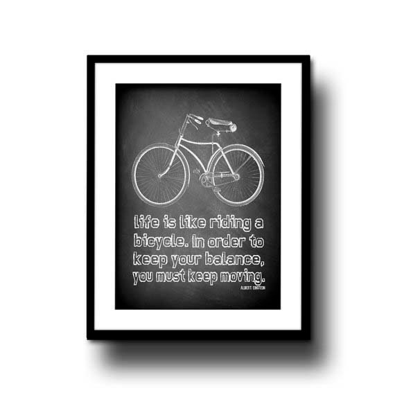 chalkboard art print chalk board bike typography quote home decor black white 8x10 motvational bicycle