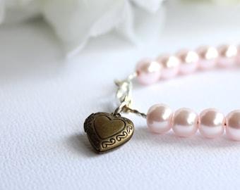 Petite Heart Locket Charm, Flower Girl Gift, Girls Pearl Bracelet, Jr Bridesmaid Gold Colored Locket Bracelet - FREE Gift Packaging