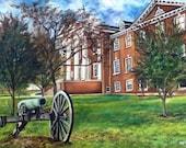 Gettysburg College Huber Hall CANVAS PRINT cannon college landmark landscape original oil painting graduation gift 9x12 by Heather Hughese