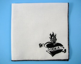 HANKIE - MOM TATTOO shown on super soft white cotton hanky-or choose from any solid color or plaids shown in pics