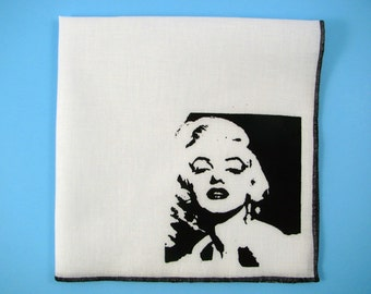 Hankie- MARILYN MONROE shown on super soft white cotton hanky-or choose from any solid color or plaids shown in pics