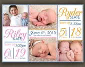 No.68 Twins Birth Announcement - Digital File