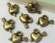 50pcs Antique Bronze Mini 3D Arrow Piercing through the Heart Charm Pendants 10x12mm D202-6