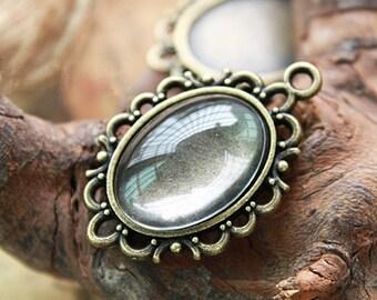 15pcs Antique Bronze Vintage Look Cabochon Base Settings Charm Pendants 13x18mm FREE 15pcs Clear Glass D401-2