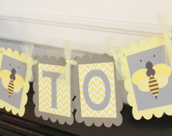 """Yellow Grey Chevron """"Bride to Bee""""  Bridal Shower Bachelorette Banner -  Ask about our Party Pack Special"""