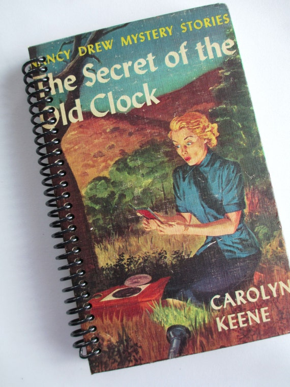 Vintage NANCY DREW Mysteries book journal notebook Recycled Upcycled Spiral Bound The Secret of the Old Clock by Carolyn Keene