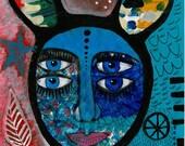 WILD THING I think I love you - original painting - contemporary folk art -expressionist - mixed media - outsider art - symbols