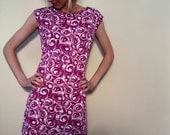 Cap Sleeve Jersey Print Dress - White Circles on Bright Pink