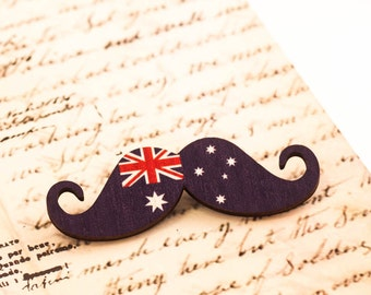AUSTRALIA flag brooch, australian brooch, australian flag, moustache brooch, mustache brooch, movember, gift for her, gift for him, geek