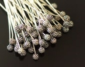 Sold by set of 10 pieces oxidized sterling silver headpins with 3mm ball, 65 mm long, 22 ga