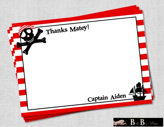 Pirate Birthday Party Thank You Note/Stationery (red and white stripes)- PRINTABLE