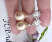 Wedding Earrings Bridal Earring - Light Gold Champagne Teardrop Pearl with White Gold Plated Peardrop Cubic Zirconia Post Earring