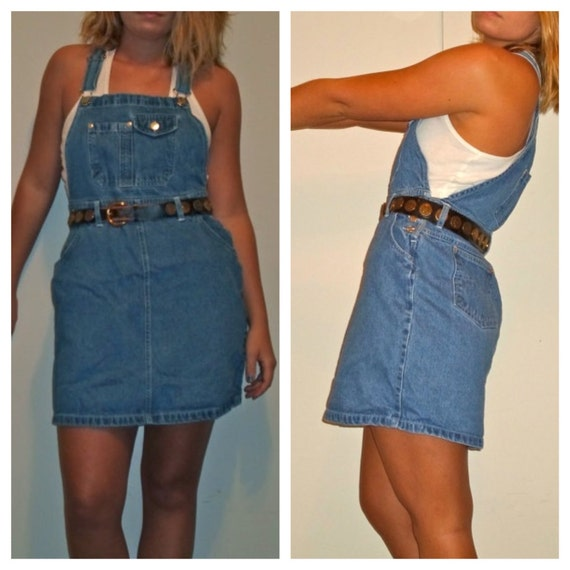 90s Plus Size Overall Dress Denim Jean Overalls by TheRogueGypsy