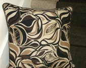 Reserved For Kevin, 1 Set Of 2 Pillows - Eye Poppin' blacks, brn, cream, modern, Brown faux suede piping trim
