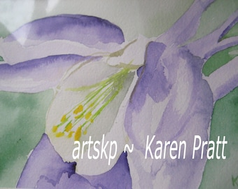 Crocus Watercolor on Arches Paper 4.5X6.5 inches by Karen Pratt Violet Watercolor