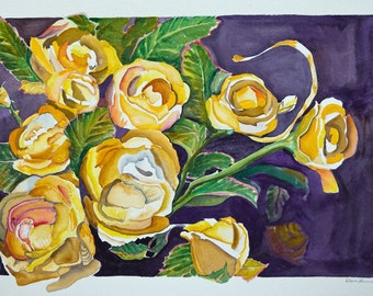 Painting-Watercolor-Yellow Roses-Fine Art-Unframed Painting-Original Art by Diann