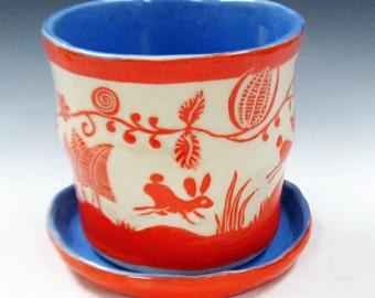 Handmade Sgraffito FLOWER POT & Saucer, Art Pottery, Leaping BUNNIES Rabbits, Whimsical Art Design Ceramics, Folk Art Influence,Outdoors Use