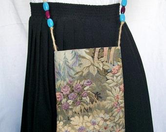 "Floral Tapestry POCKET PURSE Bag Cross body Passport Wood Beads Boho Jute 5 1/2"" x 7 1/2"""