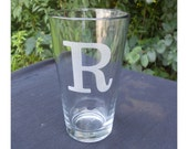 8 Personalized Pint Glasses, Engraved w/Initial or Monogram