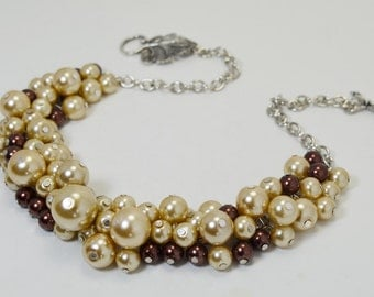Pearl Necklace, Champagne and Brown Pearl Cluster Necklace, Beige Bridal Necklace, Taupe Pearl Necklace, Mocha and Beige Chunky Necklace
