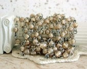 Beaded Chain, Glass Bead Chain, Chain, Bead Chain, Rosary Chain, Jewelry Chain, Champagne Luster CHN-073